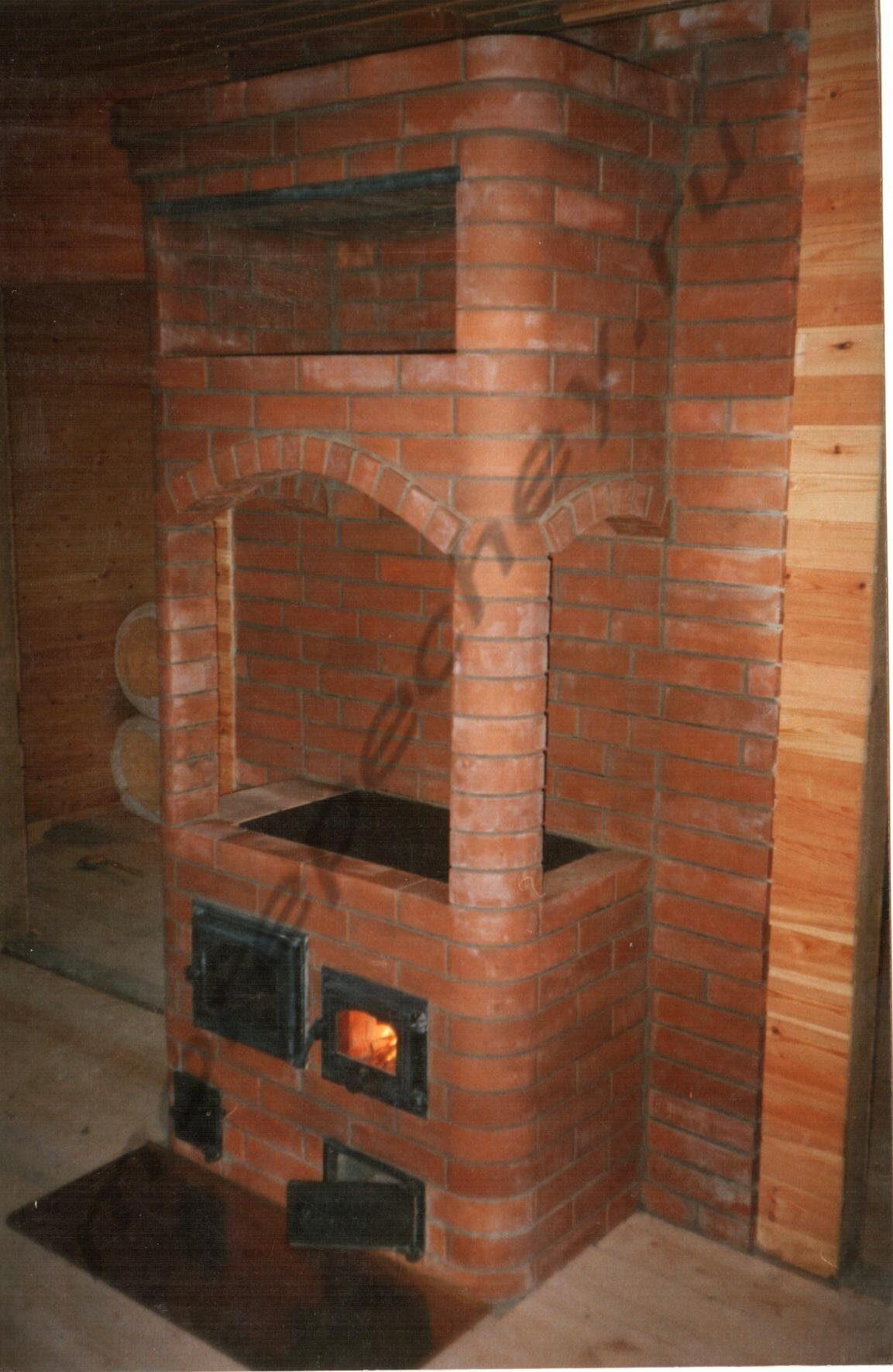 Варочная печь с камином для дачи из кирпича своими руками